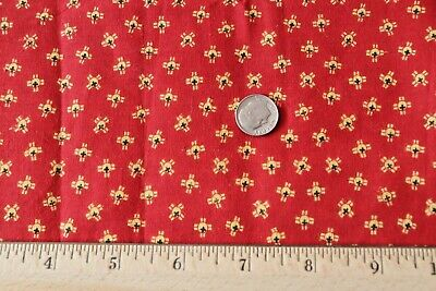 """American 19thC Antique Cotton Turkey Red With Yellow Geo Fabric~45""""X23""""~Dolls"""