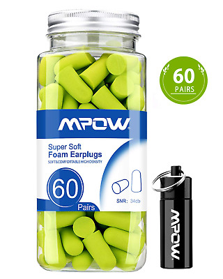 Shooting 60 Pairs EarPlugs with Aluminum Carry Case Travel Pink 32dB Highest NRR Soft foam EarPlugs Sleeping Mpow 055 Ear Plugs Noise Canceling Sponge Ear Plugs for Hearing Protection