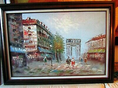 ANTIQUE FRENCH OIL PAINTING ,,,,by ALVAREZ Artist more details behind canvas
