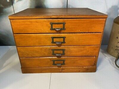 Vintage Australian Small Timber Desk Top Set of Four Drawers Trinkets Watches