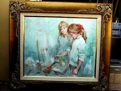 1970s ORIGINAL OIL PAINTING ON LINO CANVAS VERY EXPENSIVE PIECE