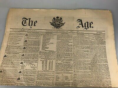 The Age Newspaper Replica Of First Edition 17Th October, 1854