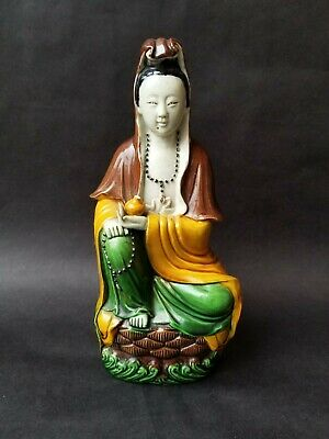 Antique 19th Century Chinese Quanyin Guanyin Sancai Glazed Pottery Statue