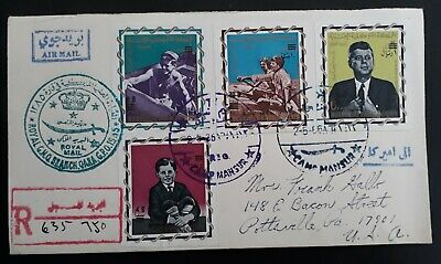 VERY RARE 1966 Yemen Registd Royal Mail Cover ties 4 Kennedy stamps Camp Mansur
