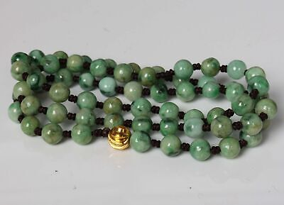 Certified Green Natural Grade A Jade Emerald 7 mm bead  Necklace 33795