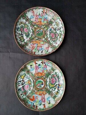 "2 Antique 19th Century Chinese Rose Medallion Plates, 8.25"" and 8"" NR ASIAN ARTS"