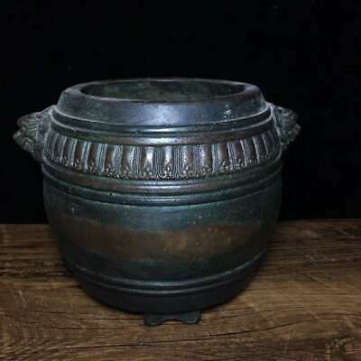 """5.9"""" Collect Chinese Ming Dynasty Pure Bronze Two Lion Head Crock Incense Burner"""