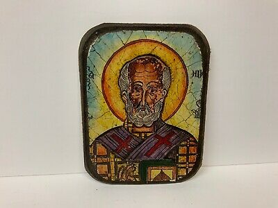 Russian Icon Hand Painted On Wood And Ceramic Saint Blessing 4.5x6""