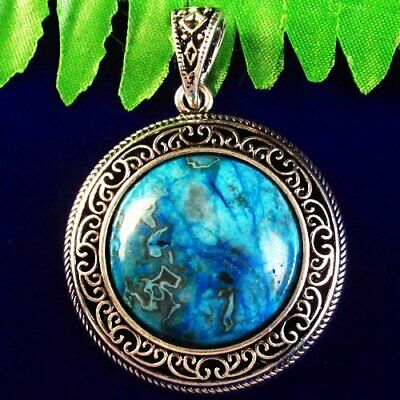 Carved Tibetan Silver Wrapped Blue Crazy Lace Agate Round Pendant Bead SH341