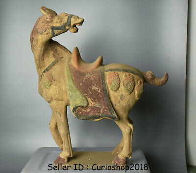 "17.2"" Ancient Chinese Han Painting Pottery Dynasty Stand Horse Statue Sculpture"