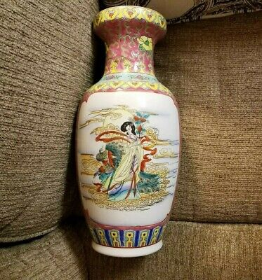 """Antique 14"""" very old chinese quin vase in mint condition.famille rose.mint.beaut"""