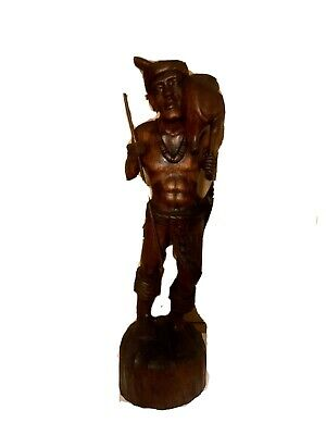 """antique asian wood carving 24"""" Tall Of hunter With Prey."""