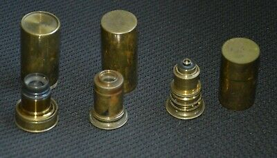 19th Century A.Rofs & J.Swift Brass Microscope Objective Lenses in Cases.
