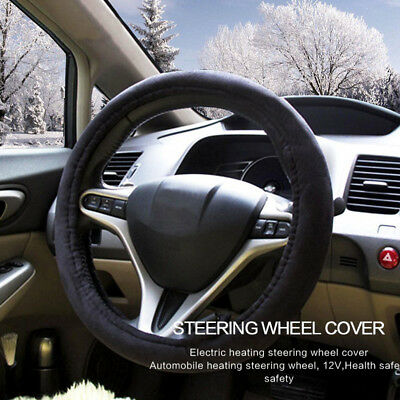 DC 12V Car Heated Steering Wheel Cover Lighter Plug Charger Warm Soft Universal