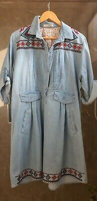 Beautiful vintage  denim  dress with embroidery  size 14-16