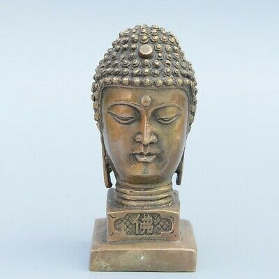 Collectable Old Bronze Hand-Carve Maitreya Buddha Statue Precious Buddhism Seal