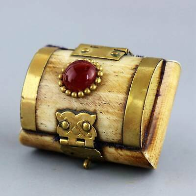 Collect Bronze Armour 0x B0ne Inlay Amber Carve Delicate Noble Girl Jewel Box