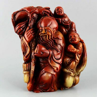 Collect Old Shoushan Stone Hand-Carved Immortal & Fairchild Auspicious Statue