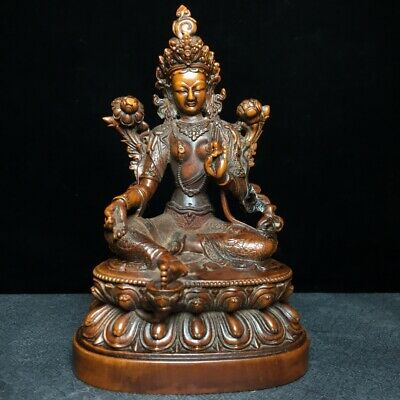 Collect China Old Boxwood Hand-Carved Lotus Kwan-Yin Buddhism Auspicious Statue