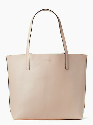 NWT Kate Spade Mya Reversible Leather Tote+Pouch Light Beige / Gold WKRU5543 F