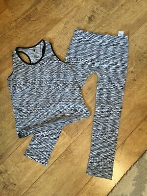 GIRLS BLACK MIX TWO PIECE GYM SET SIZE 10/12 yrs