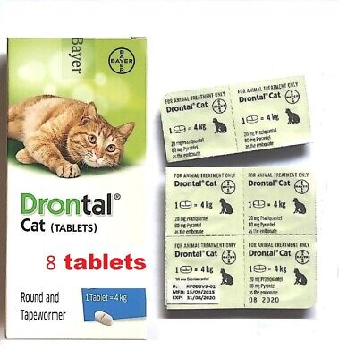 BAYER DRONTAL DEWORMER FOR CAT& kittens VERS  WORMS ROUND TAP WORM 8 TABLETS