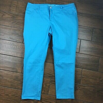 INC WOMENS 20W Skinny Leg Slim Tech Blue Denim Pants
