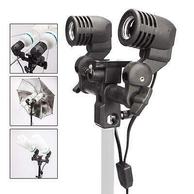 Dual Light Bulb Holder E27 Lamp Flash Photo Studio Umbrella Mount Socket Bracket