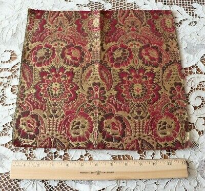 """French Antique Red Frame Jacquard Tapestry Fabric Sample c1900~12"""" Square"""