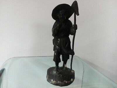 Chinese bronze figure of a fisherman,1880? , Signed (think it is bronze overpayi