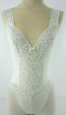 Vtg 50s Bridal Teddy Womens M White Bobbin Lace and Satin Stretchy Pull On USA
