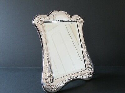 Art Nouveau Style Embossed Hallmarked London 1983  Silver Framed Table Mirror