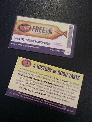 1 Jersey Mike's GIANT SUB Voucher   Expires 12-31-2020  ( Free Shipping)