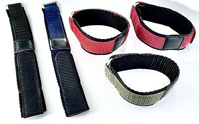 Nylon One Piece Watch Strap Band Ladies or Mens 16mm,18mm Black,Red,Green,Blue
