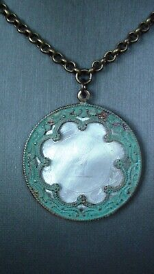 Antique Chinese Mother of Pearl Gaming Counter Pendant - Set in Brass