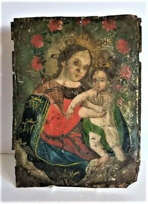 Antique 19th Century Spanish Colonial Hand Painted Retable Holy Mother & Child