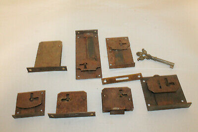 Antique Trunk Lock Lot & 1 Skeleton Key Hardware