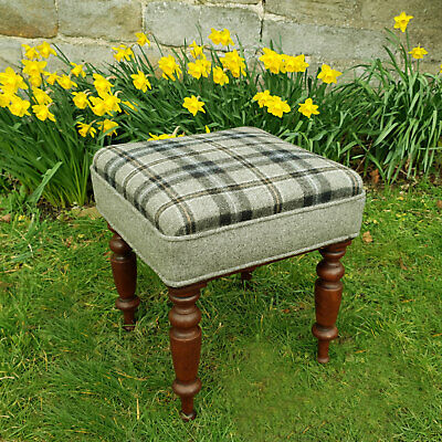 Early Victorian Mahogany Upholstered Stool C1860 (Dressing Foot William IV)