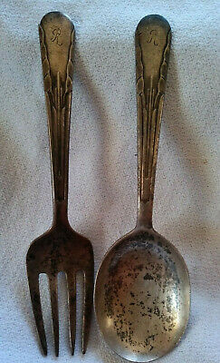 International Sterling Silver Child Fork & Spoon 1929 Orchid Pattern, monogram R