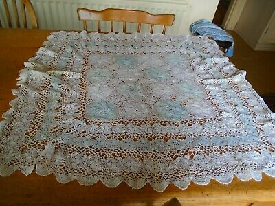 Antique Early 20Th Century Fine Lace Table Topper - Blue / White - 28 Inches Squ