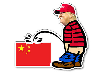 4x4 inch Trump Pissing CHINA FLAG Shaped Sticker (peeing chinese anti calvin us)