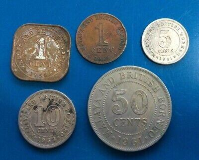 Malaya and British Borneo , coins x 5