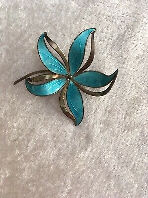 Vintage Norway Sterling Enamel Guilloche Flower Pin Hroar Prydz Turquoise color