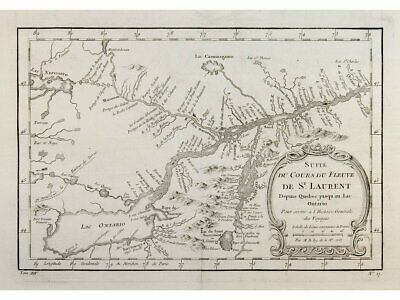 North America map Saint Lawrence River Great Lakes Bellin 1757