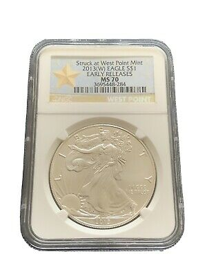 2013 W  American Silver Eagle $ Ngc Ms 70 (Early Release) Gold Star Label!!!