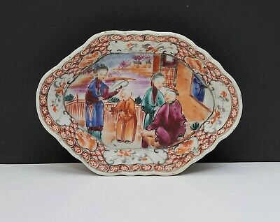 18th c Antique Chinese Export Famille Rose Porcelain Spoon Tray