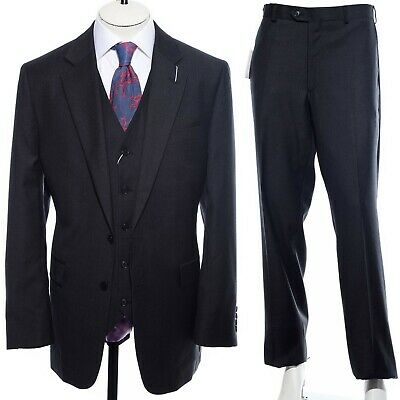 """NEW 42R Charles Tyrwhitt Charcoal Gray Wool Three-Piece Suit Vest 36"""" Trousers"""