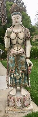 Stunning Chinese Life Size Wood Carved Kwan Yin