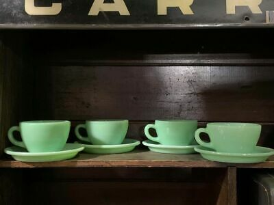 Vintage Fire King Jadeite C Handle Hotel Ware Cups and Saucers