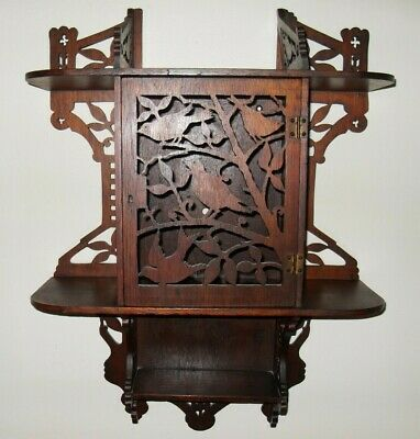 Antique Victorian Walnut Wall Shelf Reticulated Carved Birds Curio Shelves 1800s